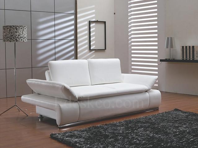 sb021w white leather sofa bed sleeper
