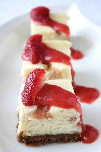 Rhubarb Cheesecake Bars with Gingersnap Crust Recipe