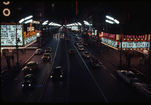 1967 Night View of State Street with Chicago and State Lake