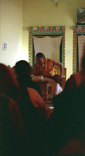 His Holiness Sakya Trizin speaking with the pilgrims at Sakya College, India in 1993
