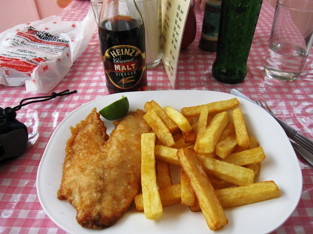 English fish and chips with vinegar for g flickr photo for Fish and chips vinegar