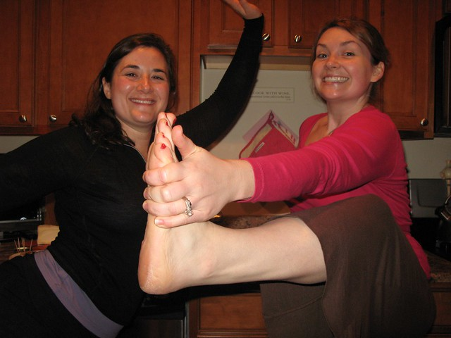 showing off our yoga in the kitchen for Rob