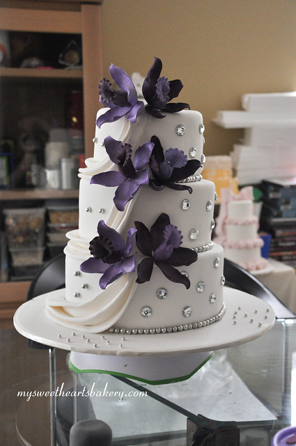 purple orchid wedding cake flickr photo sharing