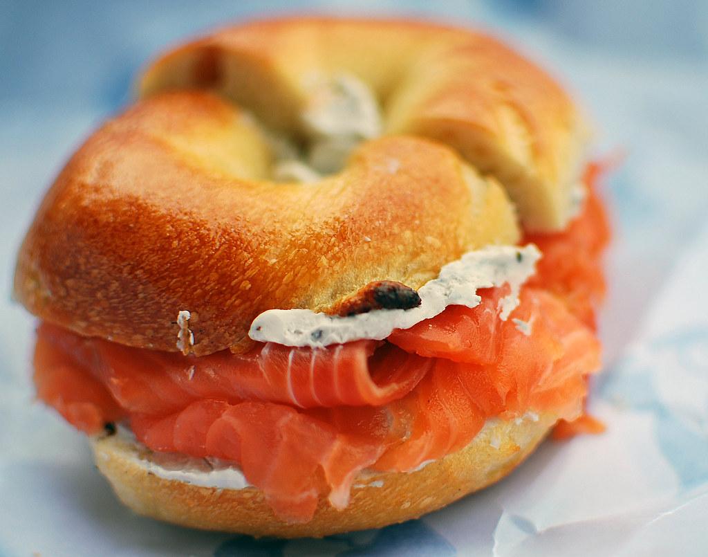 Norwegian Smoked Salmon and Caviar Cream Cheese on a Plain Bagel