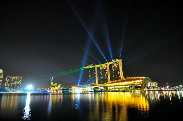 Laser show of Marina Bay