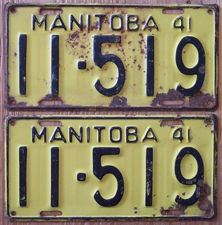 MANITOBA 1941 LICENSE PLATE PAIR