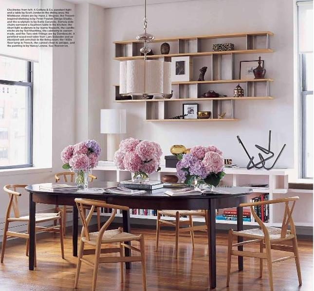 Dining Room Shelf Idea: Dining Room + Library: Floating Shelves + Wegner Wishbone