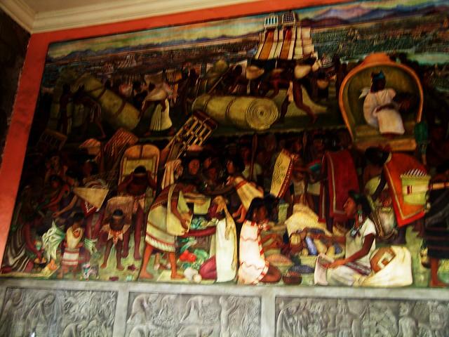 Diego rivera mural tenochitlan market scene all total for Diego rivera aztec mural