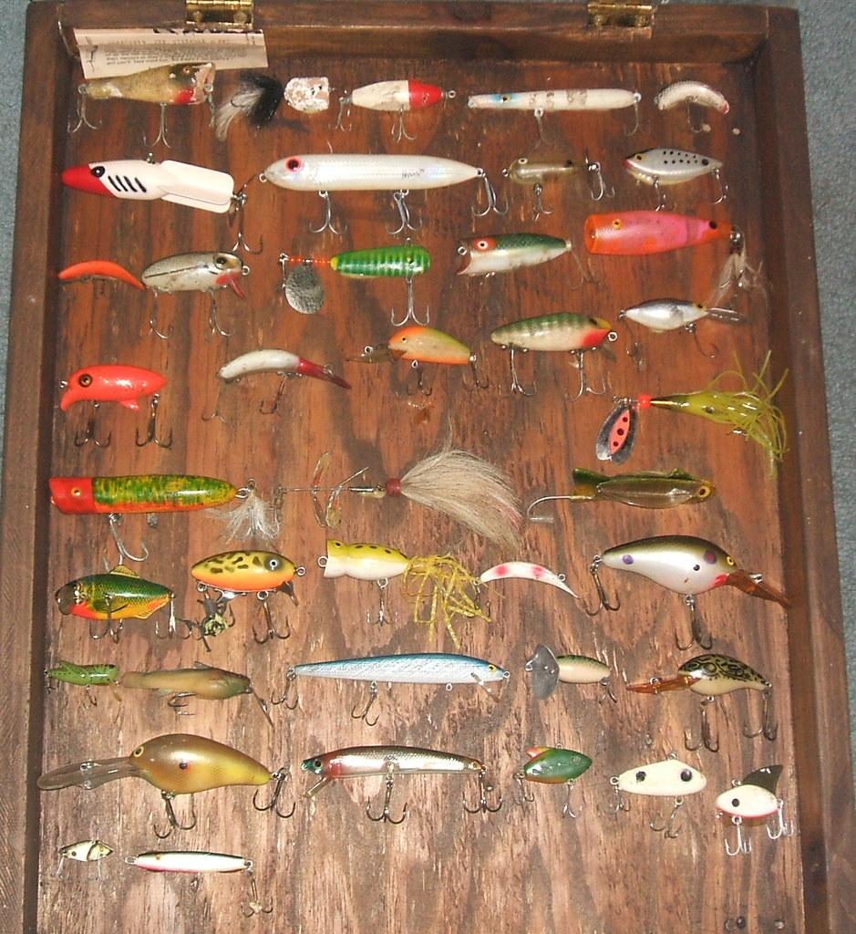 Antique vintage fishing lure display flickr photo for Fishing lure display