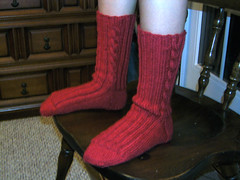 art, red, knitting, limb, leg, sock,