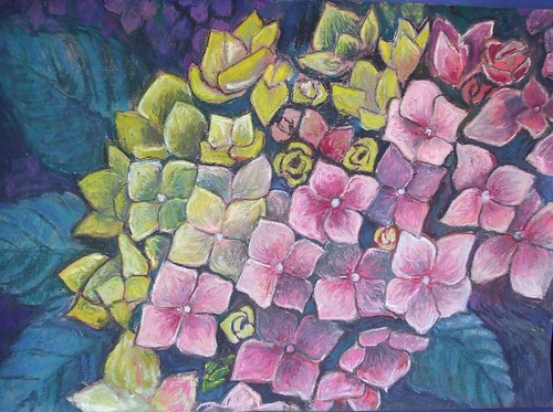 flowers pastel drawing
