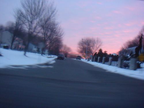 road street morning travel pink blue trees houses winter snow motion blur beautiful sunrise drive pretty action fast february 2009 shx hikichi dublinninja shawnhikichi