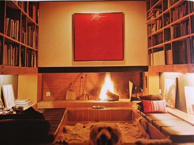 Bear Skin Rug And Fireplace my dream den, complete...