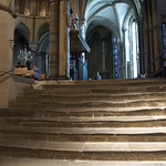 Steps worn down by pilgrims in Canterbury Cathedral
