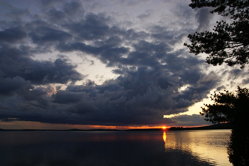 sunset sky sun lake storm water clouds finland sony lapland midnight tamron