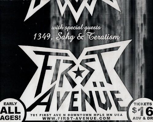 09/24/06 Celtic Frost/1349/Sahg/Teratism @ Minneapolis, MN (Flyer - Bottom)