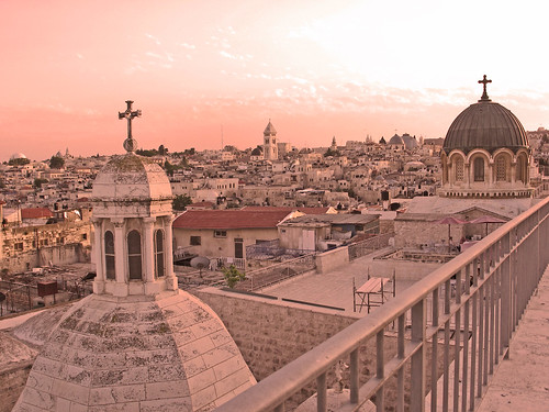 sunset sky panorama view jerusalem churches religions holyland oldcity sanctuaries franciscans