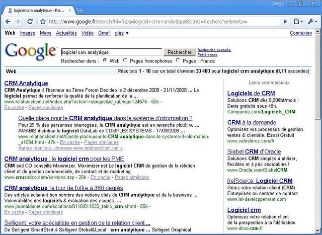 Résultats d'une recherche sur Google pour un logiciel CRM analytique