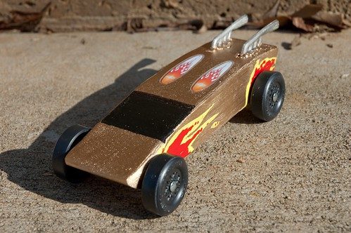 A completed Cub Scouts pinewood derby car