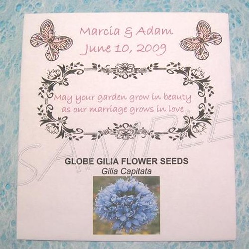 Wedding Favor Flower Seed Packet Personalized Butterfly