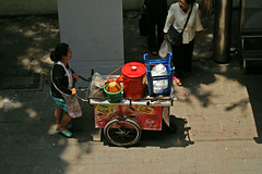 Food stall on the move in Bangkok, Thailand