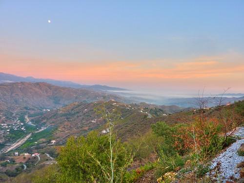 mountain sunrise landscape spain comares