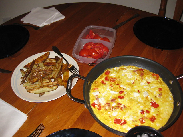 Feta and Red Pepper Frittata, Potato Wedges, Tomatoes ...