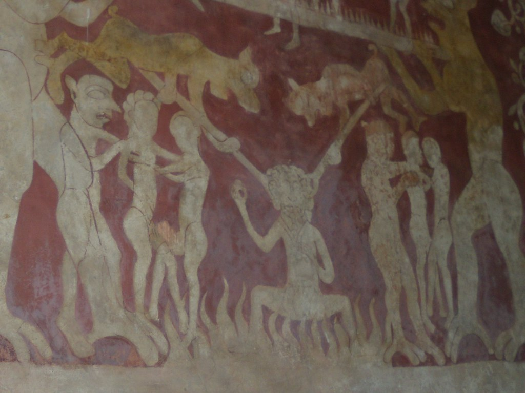 Punishment for usury A hot bot and sore ears Chaldon church wallpainting. Riddlesdown to Kingswood