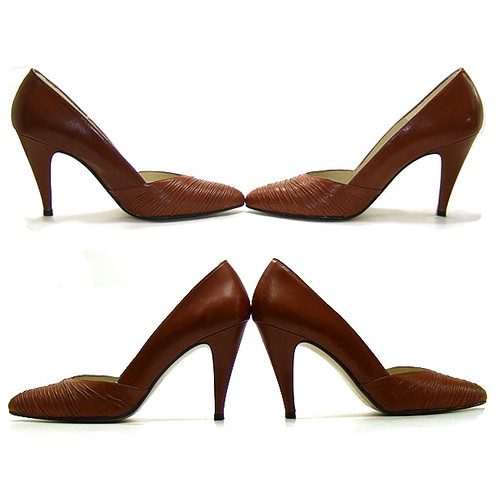 Vintage 1980's Ruched Brown High Spike Heel Shoes