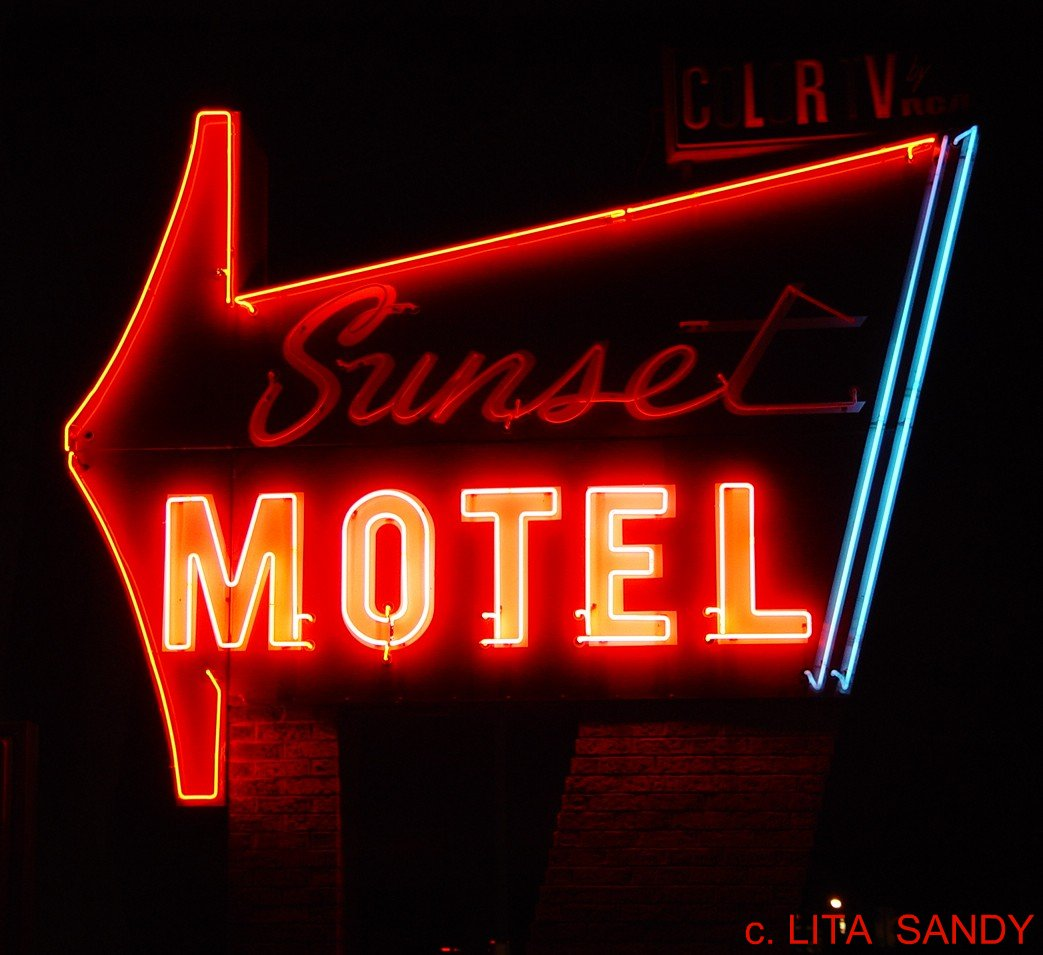 Sunset Motel Neon Sign @ Night, Close-Up