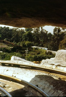 View from within the Matterhorn on the bobsled ride, Disneyland, 1979