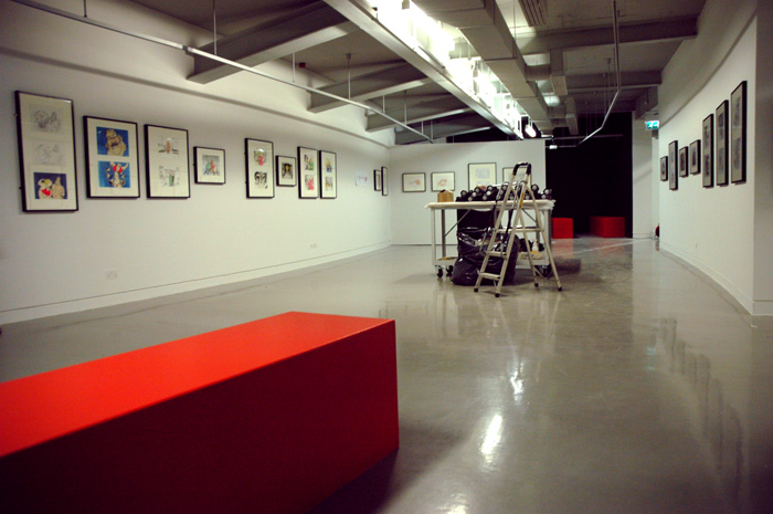 The gallery with artworks in place