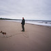 Richard and Skitters on Filey beach