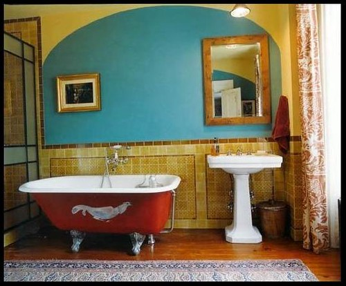 Colorful Bathroom Red Tub Turquoise Gold