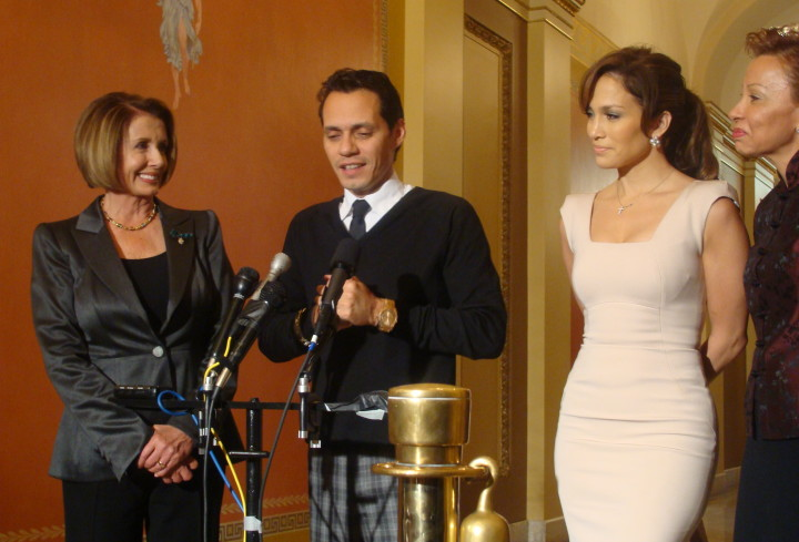 Speaker Nancy Pelosi, Marc Anthony, Jennifer Lopez, and Nydia Velázquez