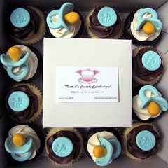 Blue Pacifier Baby Shower Cupcakes