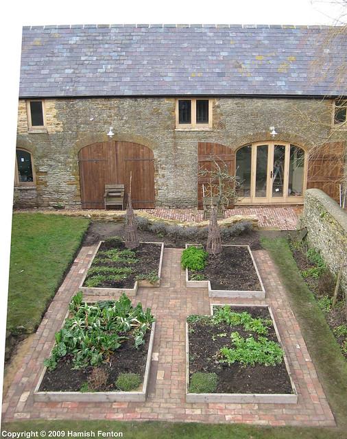 Garden Bed Bricks : Brick paths and raised beds baths laid around some