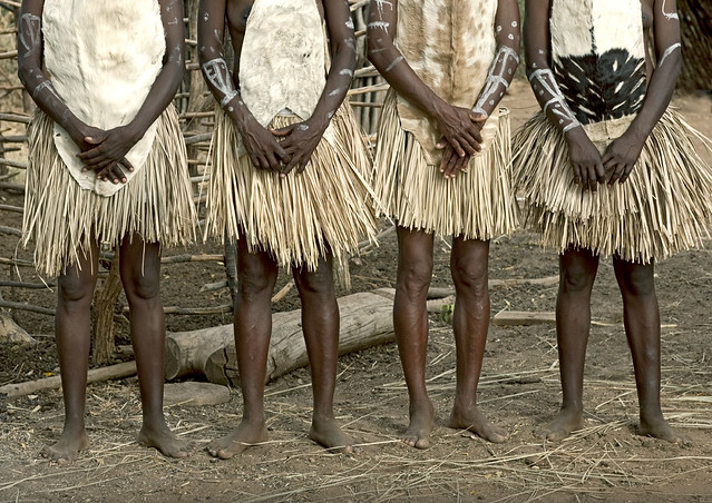 Tharaka girls with grass skirts - Kenya