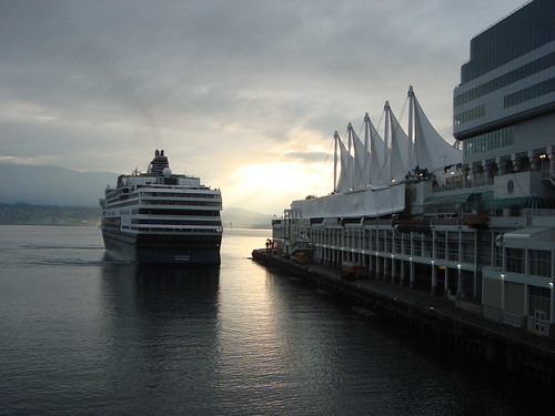 Holland America's Veendam docking at Port of Vancouver's Canada Place @ 7 am after an Alaska cruise