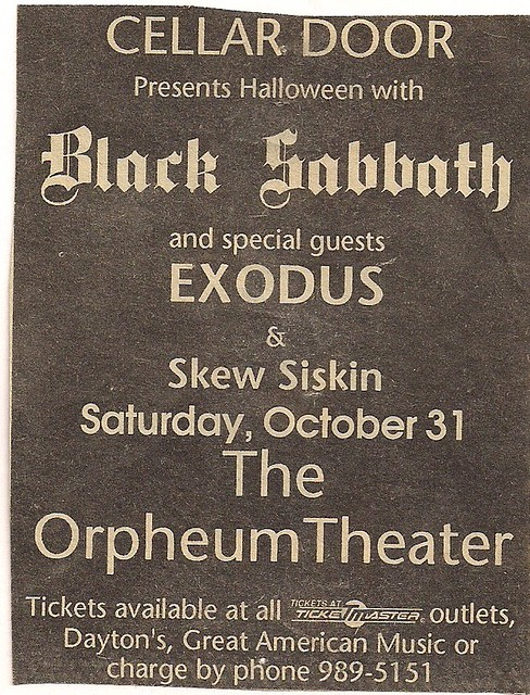10/31/92 Black Sabbath/Exodus/Skew Siskin @ Minneapolis, MN (Ad)