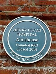 Photo of Henry Lucas Hospital blue plaque