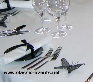 Classic Events wedding table place setting black and white butterfly