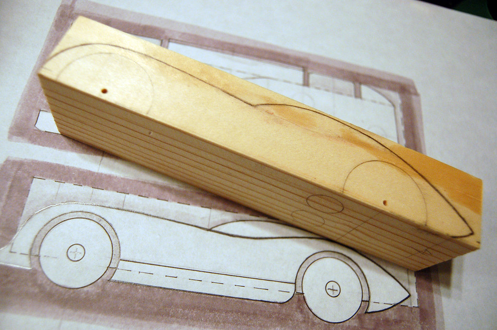 Pinewood Derby Car  Step  Tracing The Sketch On The Pine