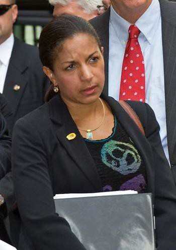 Susan Rice, U.S. Ambassador to the UN. She is an Obama administration advisor on foreign affairs. Rice went before the UN and defended Israel against the Palestinians and then later condemned the North African state of Libya targeted for regime-change. by Pan-African News Wire File Photos