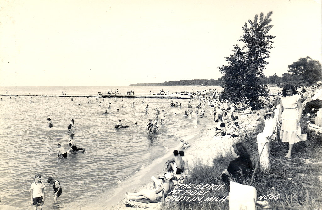 Port Austin MI Lake Huron Public Pier and Swimming Beach RPPC LL Cook Card N606 EKC Card Unsent