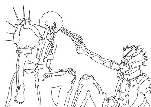 trigun coloring pages | Line Drawing - Vash/Legato | Here's part of my most ...