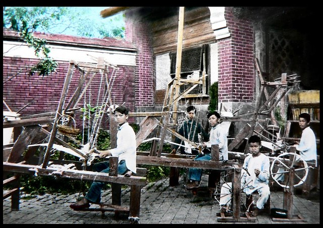 BOYS LEARN THE WAY OF THE LOOM AT AN INDUSTRAIL ARTS SCHOOL in OLD CHINA