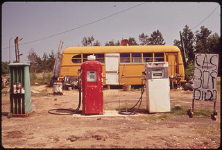Cut-Rate Gas Station Operates Out of Bus, 06/1972