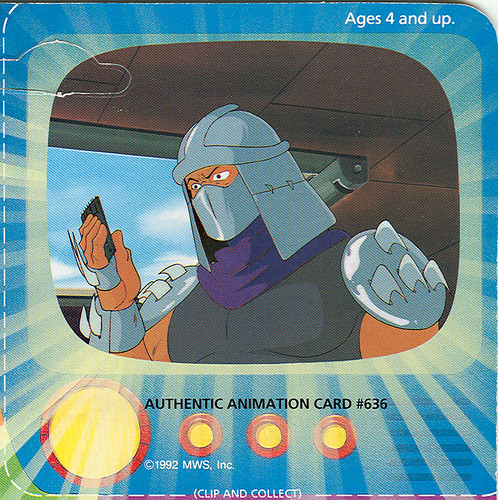 """TOON TURTLES"" TEENAGE MUTANT NINJA TURTLES ::  TOON  SHREDDER ..' AUTHENTIC ANIMATION CARD #636 ' - isolated (( 1993))"