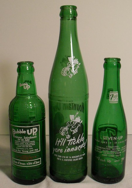Bubble Up Mountain Dew 7 Up Vintage 1960s Soda Bottles 2